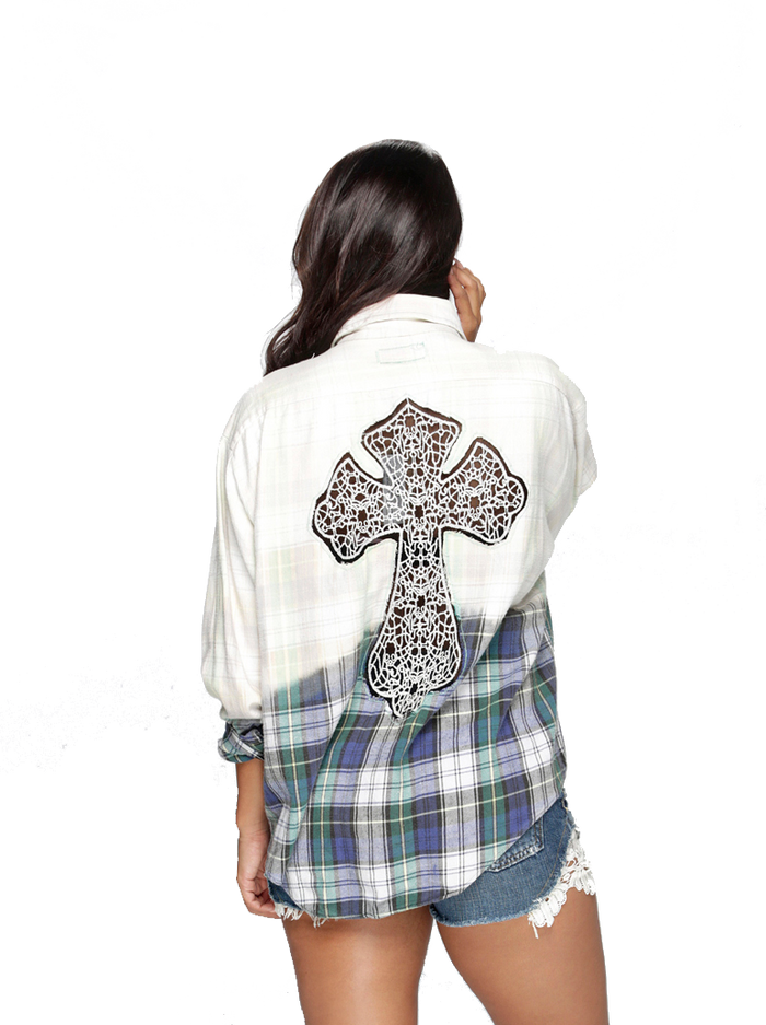 cross applique flannel shirt boca raton