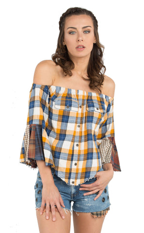 *Flannel Off the Shoulder Top