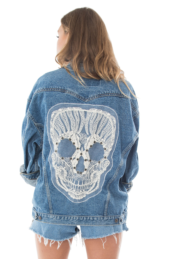 cream skull applique denim jacket