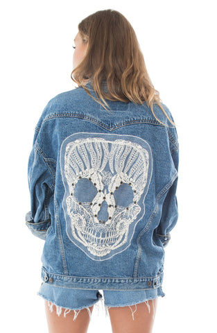 Cream Skull Denim Jacket