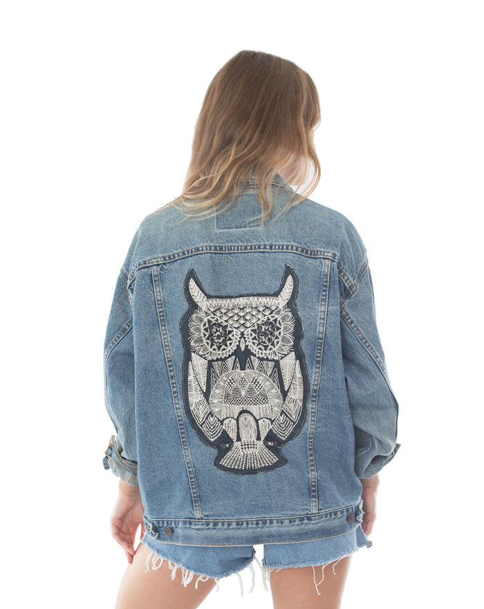 owl back applique denim jacket