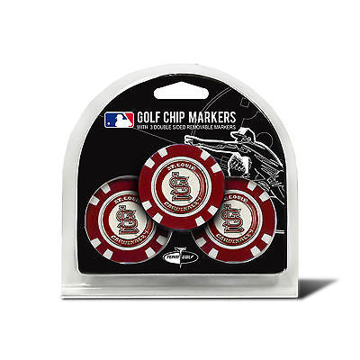 MLB St Louis Cardinals 3 Pack Golf Ball Markers Poker Chip Enamel 2 Sided