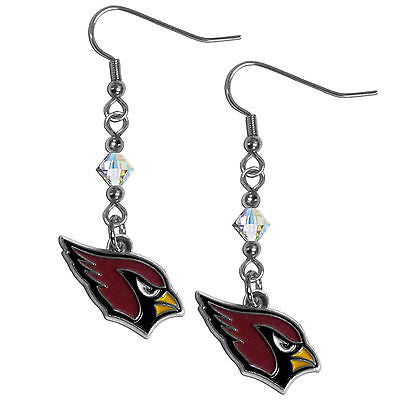 NFL Arizona Cardinals Crystal Dangle Earrings Set J Hook Charm Jewelry