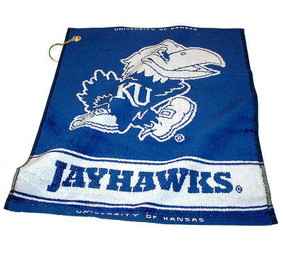 "NCAA Kansas Jayhawks Woven Golf Towel 16"" x 19"" Course Club Bag Jacquard"