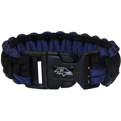 "NFL Baltimore Ravens Survival Bracelet Paracord 9"" Outdoor Football Jewelry"