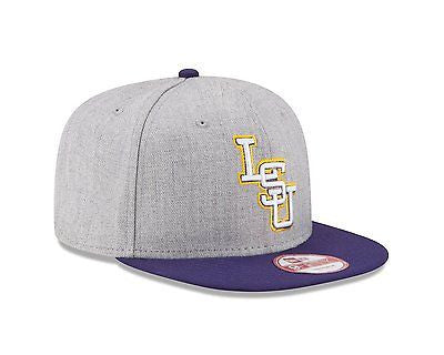NCAA LSU Tigers Hat Snapback Bind Back Cap Gray Heather New Era 9Fifty 950