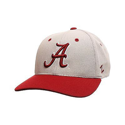 NCAA Alabama Crimson Tide Zephyr Athlete Performance Gray Cap Stretch Fitted