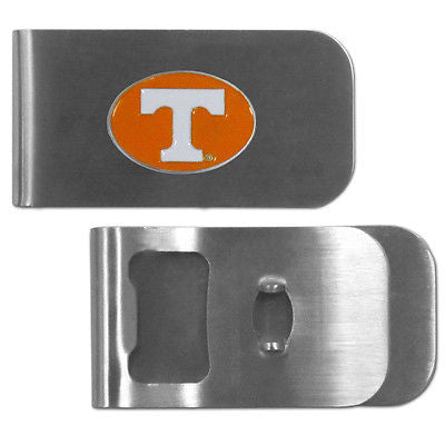 NCAA Tennessee Volunteers Bottle Opener Money Clip Metal Cash Holder Emblem