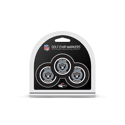 NFL Oakland Raiders 3 Pack Golf Ball Markers Poker Chip Enamel 2 Sided