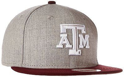 NCAA Texas A&M Aggies Hat Snapback Bind Back Cap Gray Heather New Era 9Fifty