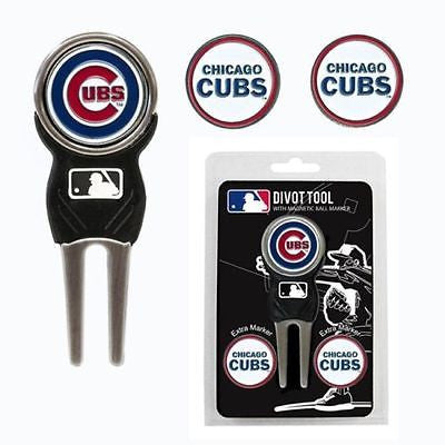 MLB Chicago Cubs Golf Divot Tool and 3 Ball Markers Enamel Team Logo