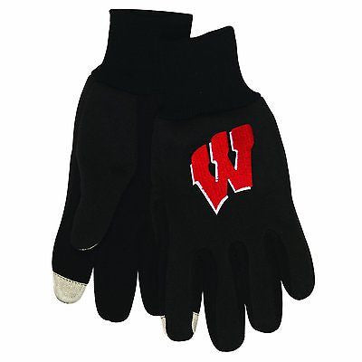 NCAA Wisconsin Badgers Technology Touch Gloves Pair Sport Winter Grip Utility