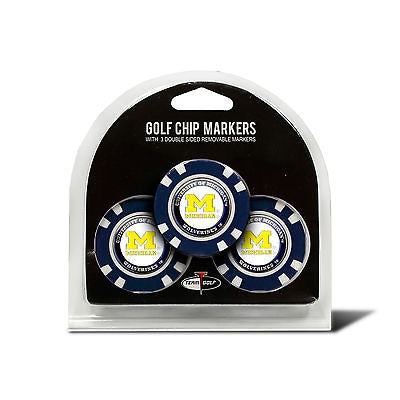 NCAA Michigan Wolverines 3 Pack Golf Ball Markers Poker Chip Enamel 2 Sided
