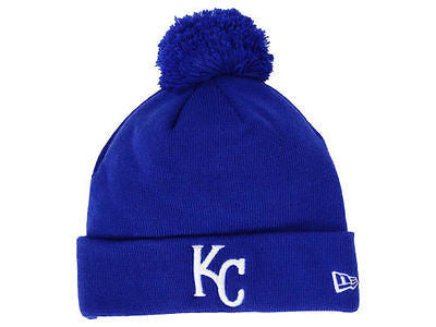 MLB Kansas City Royals New Era Knit Hat Blue Cuffed Beanie Ski Cap Pom
