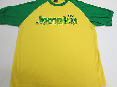 Jamaica National Team Ringer Reggae Green Yellow T-Shirt Team Shirt 11