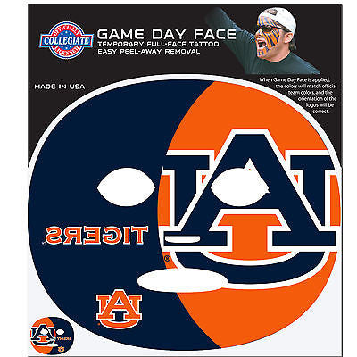 NCAA Auburn Tigers Game Day Face Full Temporary Tattoo Decal Football