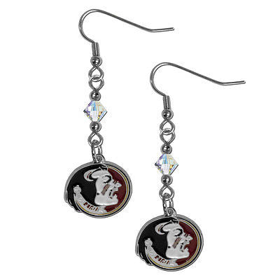 NCAA Florida State Seminoles Crystal Dangle Earrings Set J Hook Charm Jewelry