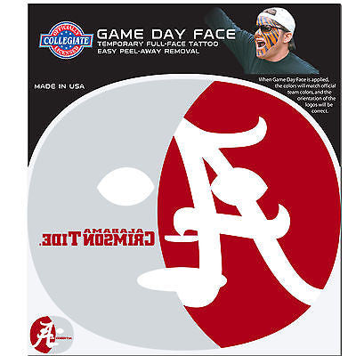 NCAA Alabama Crimson Tide Game Day Face Full Temporary Tattoo Decal Football