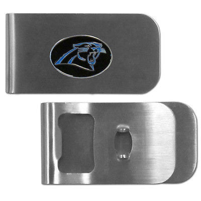 NFL Carolina Panthers Bottle Opener Money Clip Metal Cash Holder Team Emblem