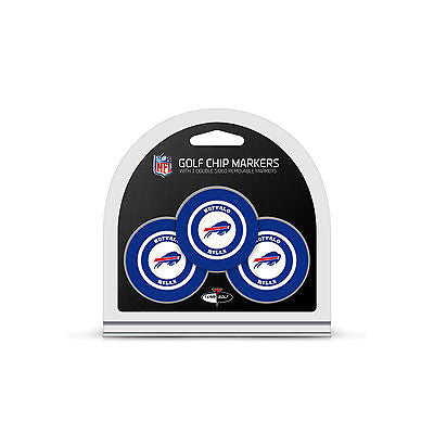 NFL Buffalo Bills 3 Pack Golf Ball Markers Poker Chip Enamel 2 Sided