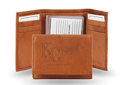 MLB Kansas City Royals Embossed Trifold Leather Wallet Brown Money Holder