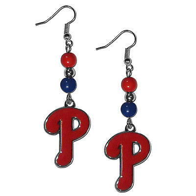 MLB Philadelphia Phillies Bead Dangle Earrings Set J Hook Charm Jewelry