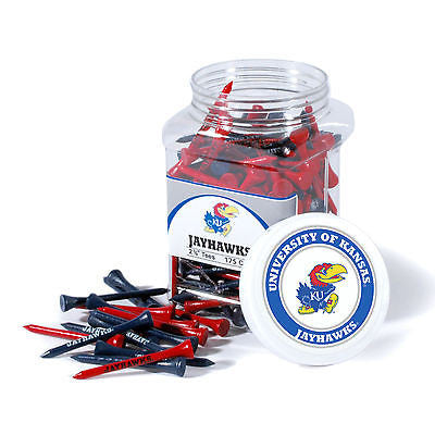 NCAA Kansas Jayhawks Golf Tee Jar 175 Count Club Course Driver Team Accessory