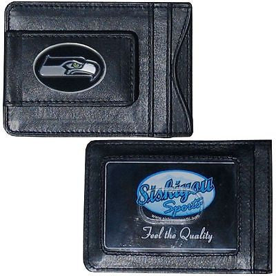 NFL Seattle Seahawks Black Leather Money Clip Card Holder Full Grain Wallet