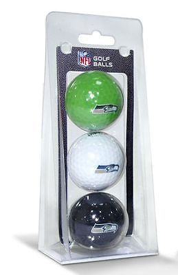 NFL Seattle Seahawks Regulation Golf Balls 3 Pack Sleeve Putting Club Three