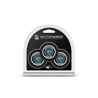 NFL Jacksonville Jaguars 3 Pack Golf Ball Markers Poker Chip Enamel 2 Sided
