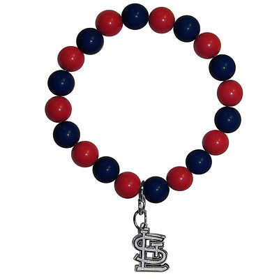 MLB St. Louis Cardinals Bead Bracelet Lucky Jewelry Stretch Wrist Enamel Charm