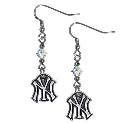 MLB New York Yankees Crystal Dangle Earrings Set J Hook Charm Jewelry