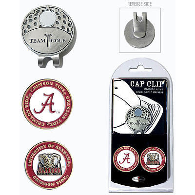 NCAA Alabama Crimson Tide Golf Cap Clip and 2 Ball Markers Enamel Team Logo Hat