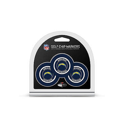 NFL San Diego Chargers 3 Pack Golf Ball Markers Poker Chip Enamel 2 Sided