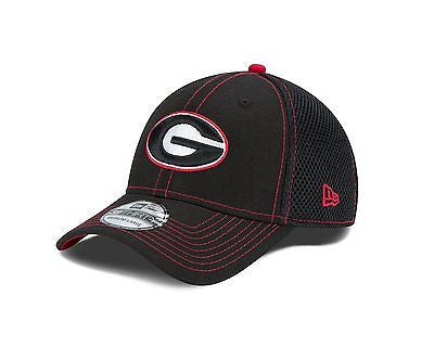 NCAA Georgia Neo 39thirty Hat New Era 3930 Stretch Fit Crux Line Cap Black