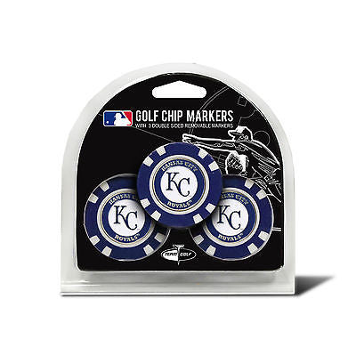 MLB Kansas City Royals 3 Pack Golf Ball Markers Poker Chip Enamel 2 Sided