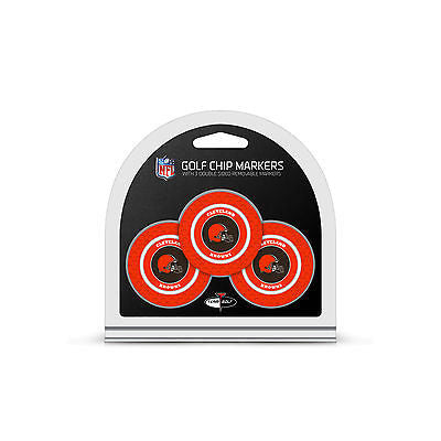 NFL Cleveland Brown 3 Pack Golf Ball Markers Poker Chip Enamel 2 Sided