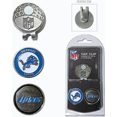 NFL Detroit Lions Golf Cap Clip and 2 Ball Markers Enamel Team Logo Hat