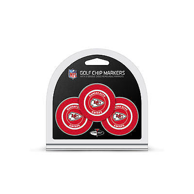 NFL Kansas City Chiefs 3 Pack Golf Ball Markers Poker Chip Enamel 2 Sided