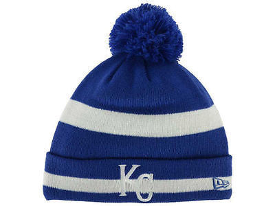 MLB Kansas City Royals New Era Knit Hat 2 Tone Striped Beanie Ski Cap Pom