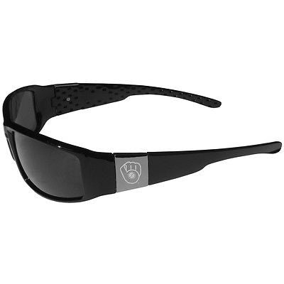 MLB Milwaukee Brewers Sunglasses Chrome Wrap Black Sport Series Sun Glasses