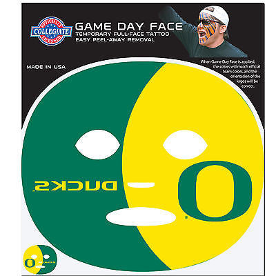 NCAA Oregon Ducks Game Day Face Full Temporary Tattoo Decal Football