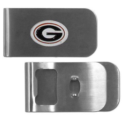 NCAA Georgia Bulldogs Bottle Opener Money Clip Metal Cash Holder Emblem