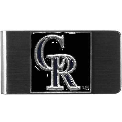 MLB Colorado Rockies Money Clip Stainless Steel Cash Holder 3D Emblem Painted