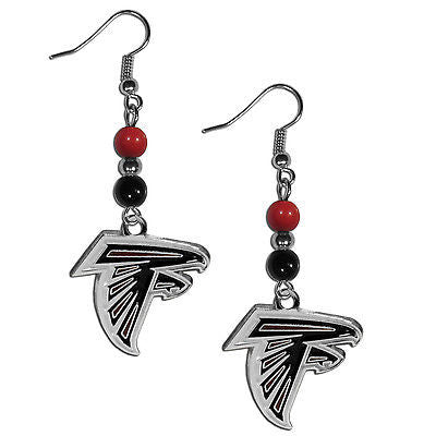 NFL Atlanta Falcons Bead Dangle Earrings Set J Hook Charm Jewelry