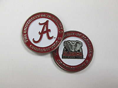 NCAA Alabama Crimson Tide Golf Ball Marker Enamel Metal Team Logo 2 Sided Hat
