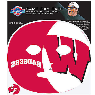 NCAA Wisconsin Badgers Game Day Face Full Temporary Tattoo Decal Football