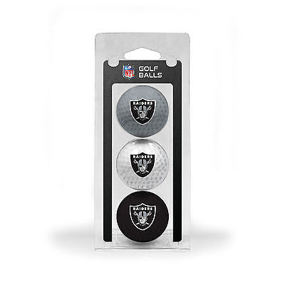 NFL Oakland Raiders Regulation Golf Balls 3 Pack Sleeve Putting Club Course 3