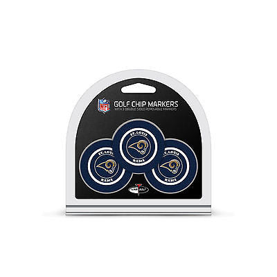 NFL St Louis Rams 3 Pack Golf Ball Markers Poker Chip Enamel 2 Sided
