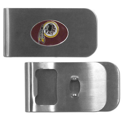 NFL Washington Redskins Bottle Opener Money Clip Metal Cash Holder Team Emblem